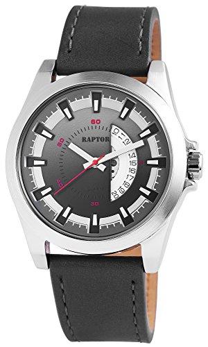 Raptor Herren-Uhr Oberseite Echtlederarmband Datumsanzeige Quarzwerk RA20110-004