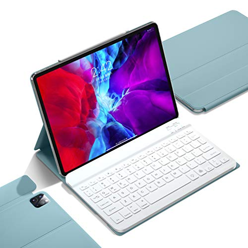 iPad Pro 11 inch Keyboard Case 2021/2020,Thin Slim Smart case with Wireless Detachable Keyboard, Supports 2nd Pencil Charging,Auto Wake (Mist Blue)