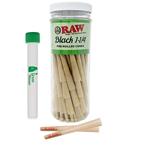 RAW Cones Black Classic 1 1/4 Size: 50 Pack - Double Pressed Extra Fine Ultra Thin - Pre Rolled Cones Rolling Papers with Filter Tips – Includes The Green Blazer Doob Tube