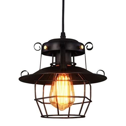 NAMFMSC Lámpara colgante de hierro forjado de estilo industrial antiguo Lámpara colgante de red de hierro negro de una sola cabeza E27 Fuente de luz Lámpara colgante de metal Nostálgico Retro Island L
