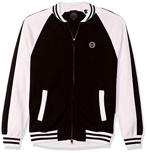 A|X Armani Exchange Men's Zip Up Cardigan with Ribbed/Striped Hem, Black/White, M