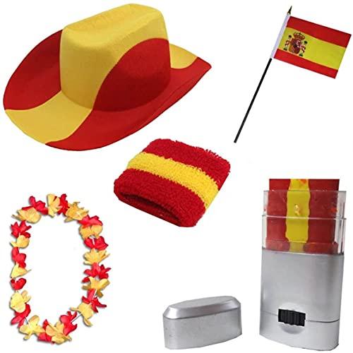 Sonia Originelli Fan-Paket EM Spanien Spain Espana Fußball Hut Kette Schminke Schweißband Flagge