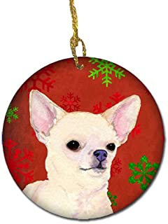 Caroline's Treasures SS4679-CO1 Chihuahua Red Snowflakes Holiday Christmas Ceramic Ornament, Multicolor