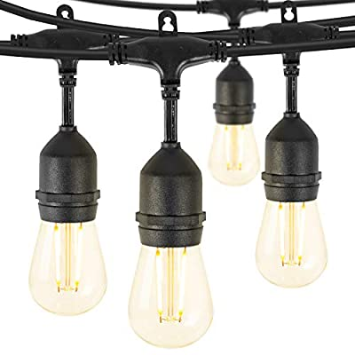 Brightown LED Outdoor Patio String Lights 48Ft Weatherproof Commercial Grade Hanging Lights with 15 Shatterproof Bulbs, UL Listed Connectable Strand for Backyard Porch Bistro Party, 2W, E26 Base,Black
