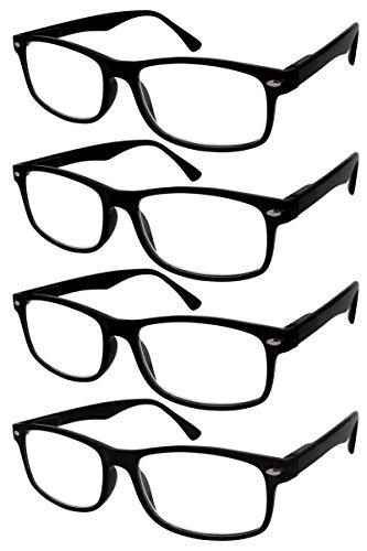 TBOC Lesebrille Lesehilfe für Herren und Damen - (Pack 4 Einheiten) Dioptrien +3.50 Schwarz Fassung mit Stärke für PC Handy Trend Frauen Männer Senioren für Alterssichtigkeit Presbyopie