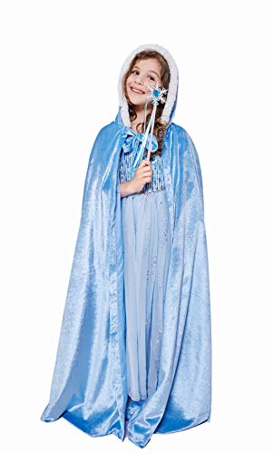 Gotbuop Deluxe Princess Cape Velvet Hooded Long Cloak for Girls Christmas Party Dress Up (6-9 Years, Blue)