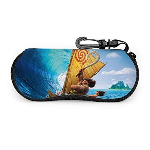 Anime Ocean Romance Moana - Funda impermeable con mosquetón para gafas de seguridad con cremallera, funda suave para gafas de sol portátil, clip para cinturón