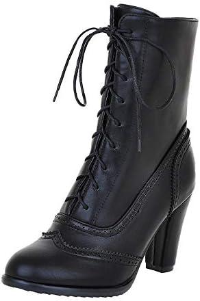 Mid calf high heeled boots