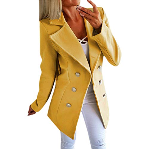 VEKDONE Women Winter Oversized Warm Woolen Blazer Jackets Double Breasted Pea Coat Long Trench Coat Outwear(Yellow,X-Large)