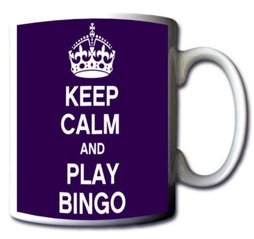 DKISEE Taza de bingo con texto en inglés 'Keep Calm And Play', color morado