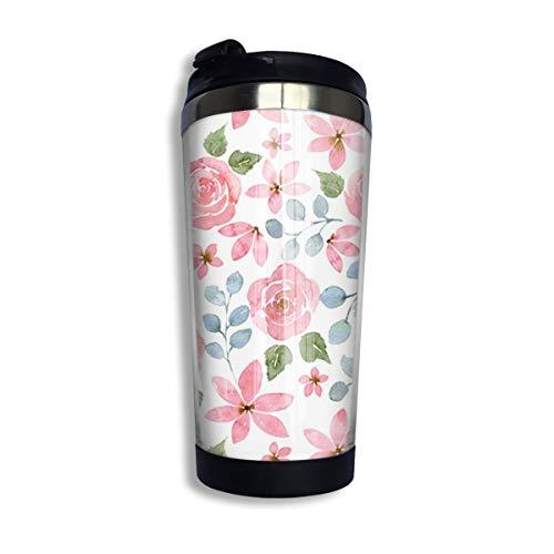 CCYK Kaffeebecher mit Rosen-Motiv, Thermobecher aus Edelstahl, für Arbeit und Reisen, 304 Edelstahl + lebensmittelechtes ABS, Rosentapete, Einheitsgröße