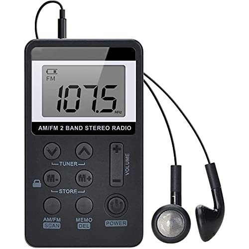GEQWE Radio De Bolsillo FM, Sintonización Digital Portátil Am Mini Reproductor De Radio Estéreo Am/FM con Batería Recargable Y Auriculares para Caminar Al Aire Libre