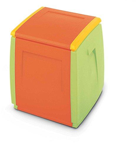 Terry In & out Box 55 Kids Baul Multifuncional con Capacidad 120 litros. Se Puede Utilizar en ambientes internos y externos, Naranja, 54x54x57 cm
