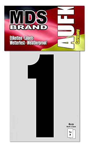 MDS Brand 8cm Zahlen Aufkleber Klebezahlen Selbstklebend Aufkleber Schwarz (1)