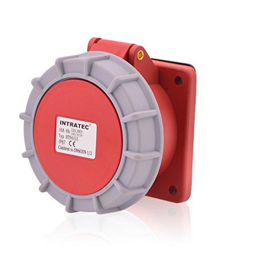 CEE Starkstrom Einbausteckdose Drehstromsteckdose Gerade 16A 400V 6h IP67 5-polig (3P+N+E): IEC-60309 Industrie und Mehrphasenstecker robuste Industriequalität