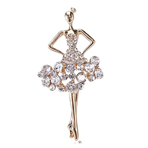 Biżuteria ślubna kryształ gimnastyka baleriny kwiat spódnica balet dziewczyna kryształ górski broszki dla kobiet gorsetowa sukienka broszka szpilki