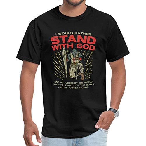 Stand with God T-Shirt Men Bible Verse T Shirts Jesus Knight Gift Tshirt Letter Tops Warrior Praise The Sun Sweatshirts Vintage-Black,M