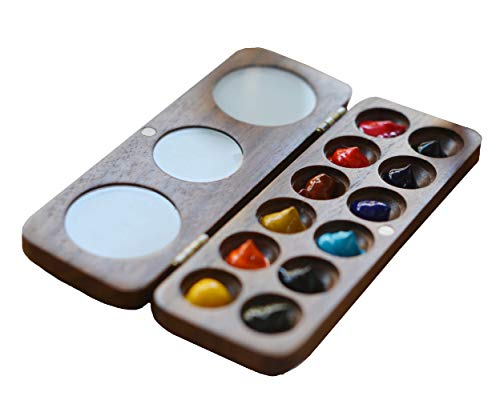 Watercolor Paint Palette with Lid,Artist Paint Palette, Wood Paint Tray Palettes,12-Wells, Travel -Portable-Washable,Painting Palettes