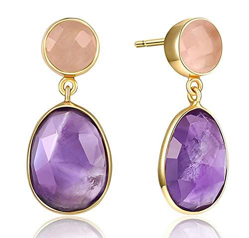 JY Novedad Jewelry925 Pendientes colgantes de plata de ley para mujer Pendiente de oro con forma de lágrima de color púrpura