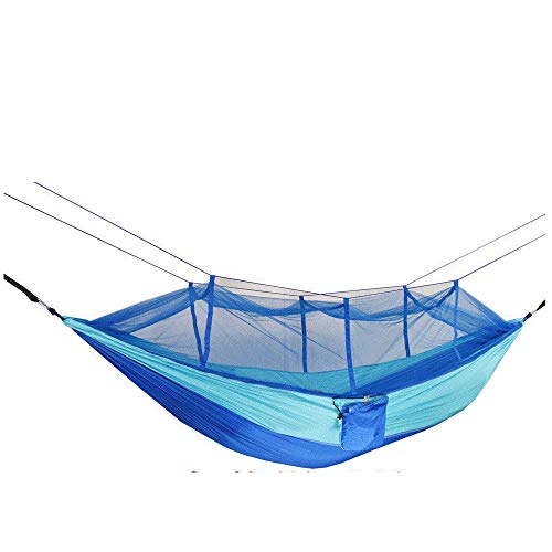 LightweightDoubleSingle Hammock with Storage Bag + Strap,300kg Load Capacity (265x140cm) Blue Backyard Furniture for Indoor, Outdoor, Hiking, Camping, Backpacking, Travel, Backyard