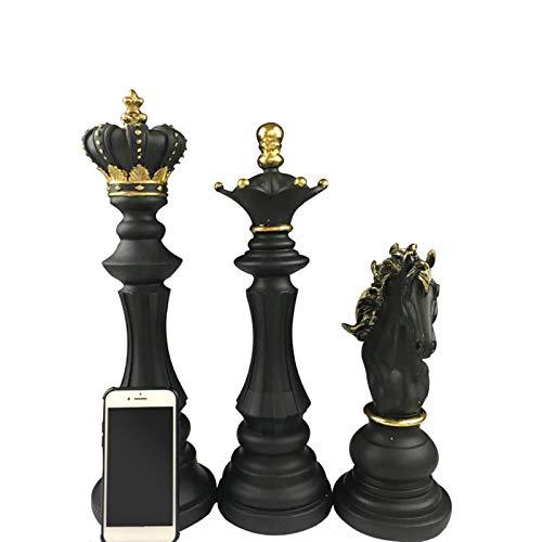 ZSQZJJ Modernos Estatuas Figuritas Adornos de Interior Estatuas Decorativas,1 Piezas Piezas de ajedrez de Resina Accesorios de Juegos de Mesa Figuras de ajedrez Internacional decoración del hogar