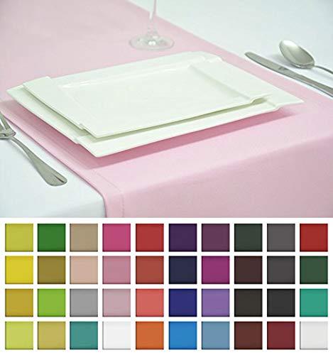 Rollmayer Edle Tischläufer Tischdecke Tischtuch Tischwäsche Pflegeleicht Kollektion Vivid (Pastellrosa 50, 40x140cm)