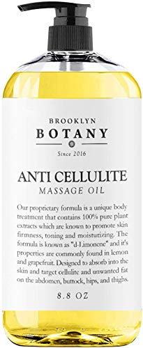 Brooklyn Botany - Anti Cellulite Treatment Massage Oil - 100% Natural Ingredients - Penetrates Skin 6X Deeper Than Cellulite Cream - Targets Unwanted Fat Tissues & Improves Skin Firmness - 8.8 OZ