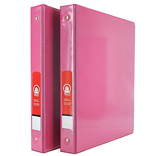 """1"""" 3-Ring View Binder with 2-Pockets - Available in Fuschia - Great for School, Home, & Office (2-Pack) - by Emraw"""