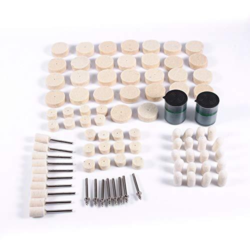 Jadpes wollen polijstschijf, 90-delige set polijstschijven van polijstvilt en schuurmiddel voor Rotarys-gereedschappen