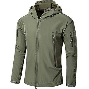 TACVASEN アウトドア タクティカル ソフト シェル ジャケット 保温や防水や防風など多機能のアノラック スキーと山登りの迷彩服