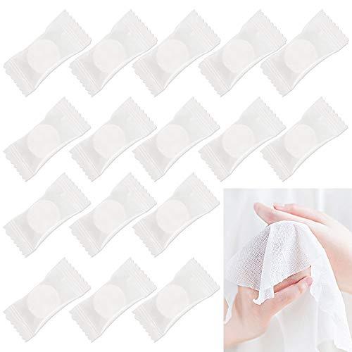 PERFETSELL 100 Stück Komprimiertes Handtuch Einweg Trockentücher in Form von Tabletten Platzsparend Gepresstes Handtuch Handtuchpillen Mini Magic Towel für Unterwegs, Urlaub, Reisen, Sport, Küche