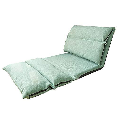 LJFYXZ Canapé Paresseux Chaise Réglage à 6 Vitesses Pliage prolongé Facile à enlever et à Laver Assise Confortable Humidité Respirante Loisirs Retour Lit en Tissu (Couleur : Green)