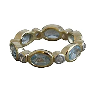 Blautopas Zirkon vergoldet Sterling Silber Band US-Größe 7 / Diameter 17.3 (norway)