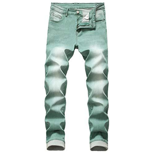 Pantalones Vaqueros Sencillos elásticos Ajustados para Hombre, Pierna Recta, Cintura Media, Pantalones de Tubo Lavados con Personalidad de Color para Todas Las Estaciones 38