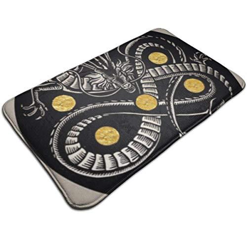 XIUGE Innentürmatte Vordere Hintertürmatte Shenron Linolschnitt-Druck mit Blattgold Wasserabsorbierend Flachschlammmatte mit niedrigem Profil Rutschfester großer Türteppich 19,5 x 31,5 Zoll