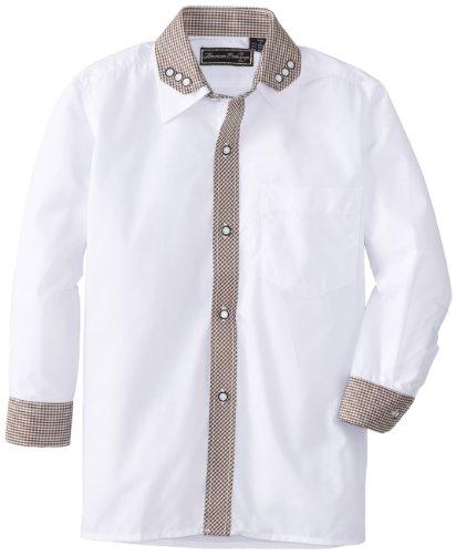American Exchange Little Boys' Little Mini Gingham Contrast Shirt, White/Tan, 7