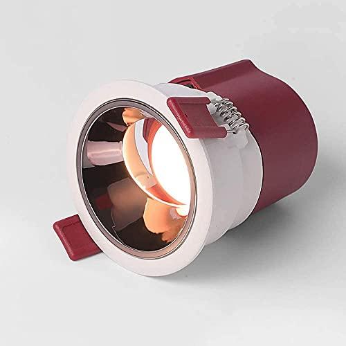 LogIme Mini foco empotrable LED ultrafino antirreflejo profundo de 7 W, luz LED empotrada en el techo con ángulo de haz redondo de 38 °, aluminio fundido a presión de 6000 k, sala de estar doméstica C