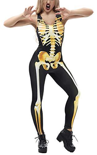 RAISEVERN 3D Digitaldruck Ghost Skeleton Bodysuit Sexy Einteiler Halloween Kostüm Lustige Einzigartige Haut Anzug Catsuit Overall für Junge Erwachsene Weibliche Frauen Damen