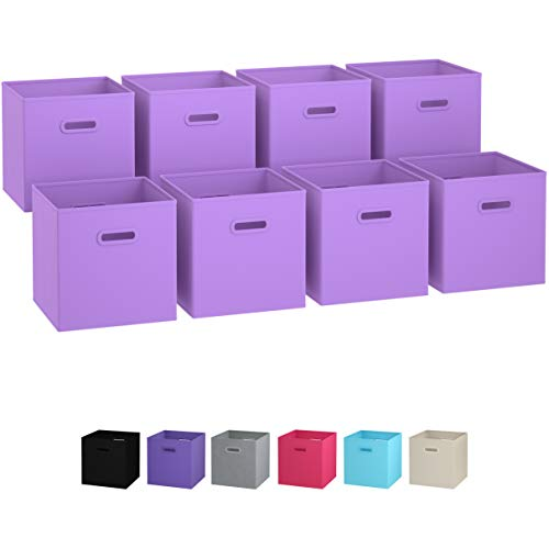 Royexe Storage Bins - Set of 8 - Storage Cubes | Foldable Fabric Cube Baskets Features Dual Plastic Handles. Cube Storage Bins. Closet Shelf Organizer | Collapsible Nursery Drawer Organizers (Purple)