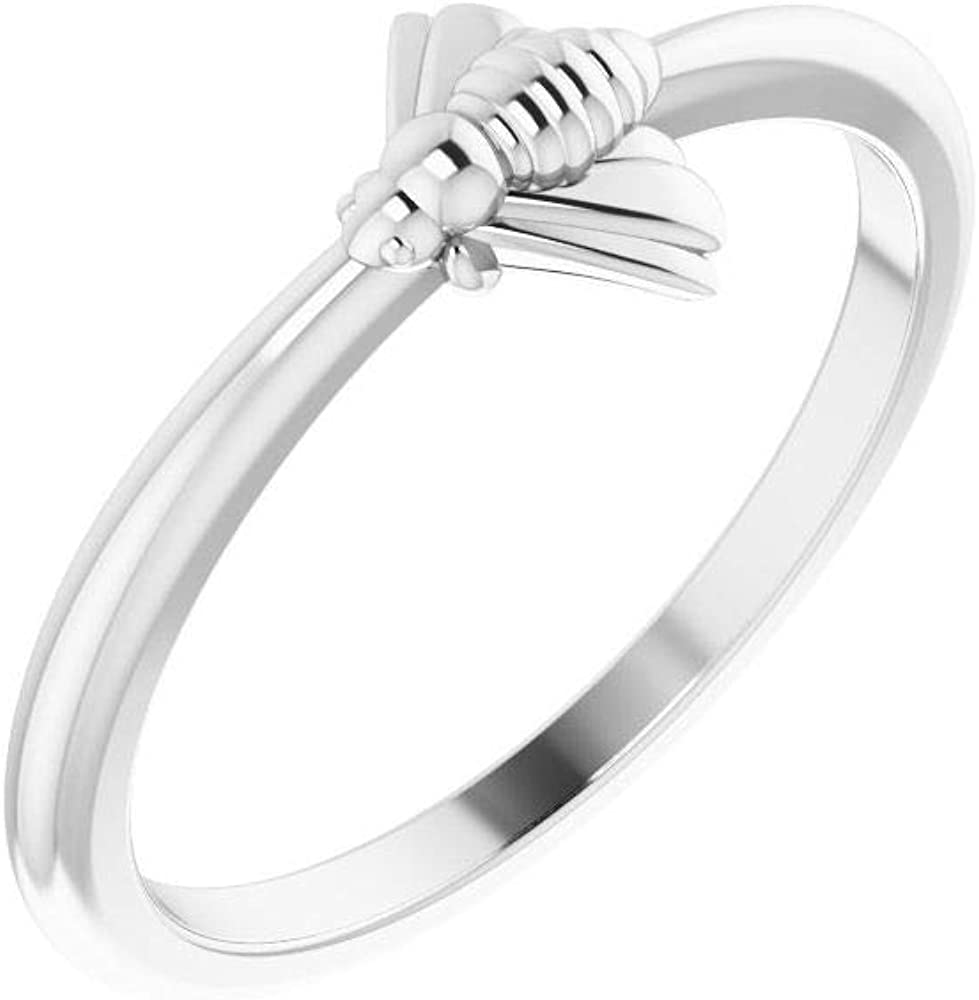Solid Platinum Stackable Wedding Anniversary Bee Ring Band (Width = 7.5mm)