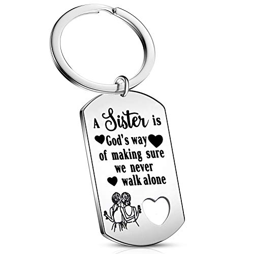 Sister Gift from Sister - We Never Walk Alone Sister Keychain Sister Jewelry Gifts for Sister