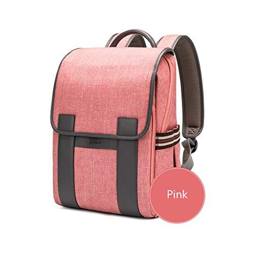 FH 男性と女性のためのラップトップバッグ、ラップトップノートブック盗難防止大容量バックパック、出張レジャーバッグ、 (Color : Pink, Size : 13 inches)