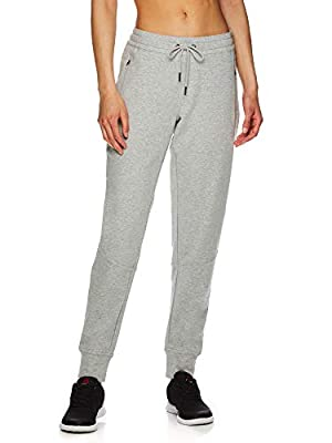 Reebok Women's Slim Fit Jogger Pants - Mid Rise Waist Athleisure Sweatpants for Women - Essential Grey Heather, Medium