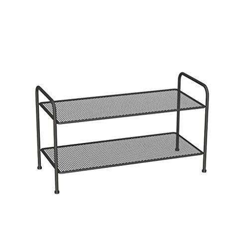 Kiter Zapatero de hierro nórdico, estante de zapatos simple, para el hogar, interior, multicapa, para pasillo, entrada, sala de estar, zapatero (color: negro, tamaño: 2 niveles)