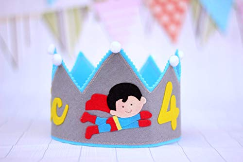 Corona cumpleaños, corona de fieltro personalizada, fiesta infantil.