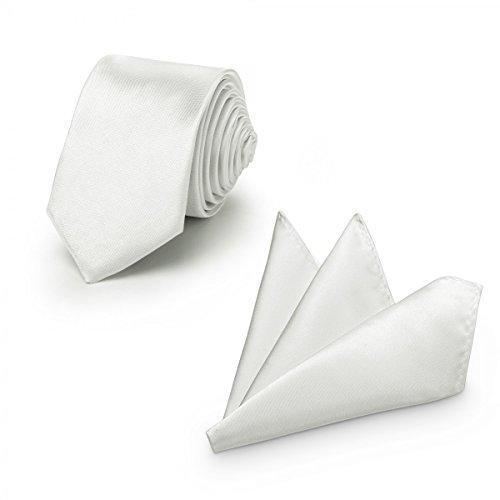 Rusty Bob - Krawatte mit Einstecktuch (in vielen Farben) - für die Verlobung, die Hochzeit - Schlips mit Taschentuch für das Sakko - 2er-Set - Silber