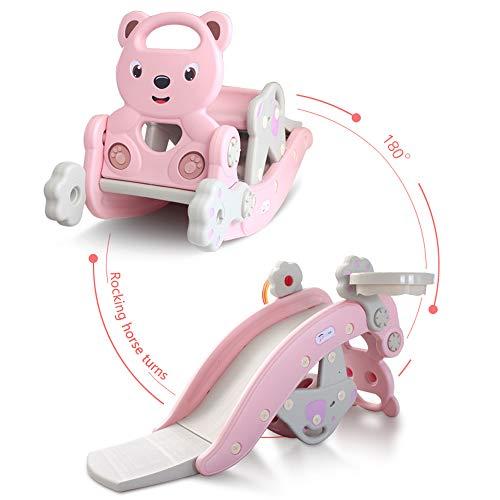 Kinderglijbaan Rocking Horse 4-in-1 Kids Klimmen & Animal Rocker Set Ride on Toy Niet-toxisch gemakkelijk te monteren voor Age 1 en Up