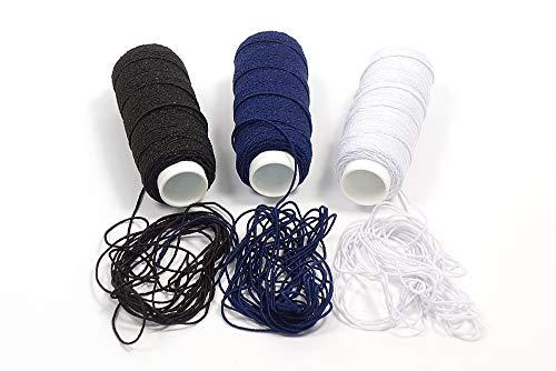 Matsa 90m Fruncir Tricotar, Hilo Elástico para Máquina de Coser, Ganchillo, Plisar, Nido de Abeja, Negro/Marino, Blanco, 90 m