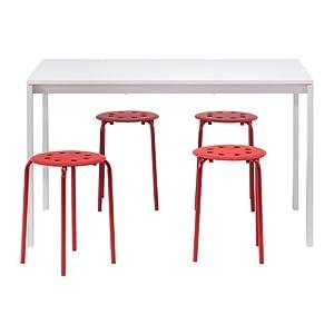 IKEA MELLTORP/MARIUS - mesa y 4 sillas, blanco, rojo - 125 cm