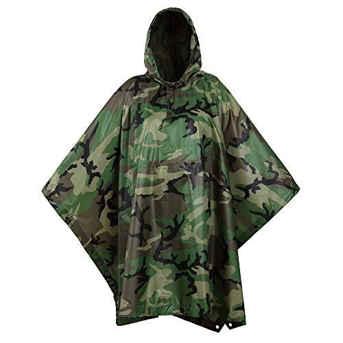USGI Industries Militär-Poncho, Notfall-Zelt, Mehrzweck-Einsatz, Rip Stop Camo, Überlebens-Regenponcho (Woodland, Regenponcho)